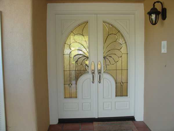 "image detail page for Custom ""Angel Wings"" painted double entry door with architectural glass"