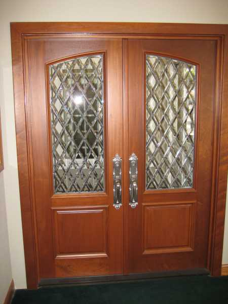image detail page for Custom mahogany double entry doors with diamond beveled glass