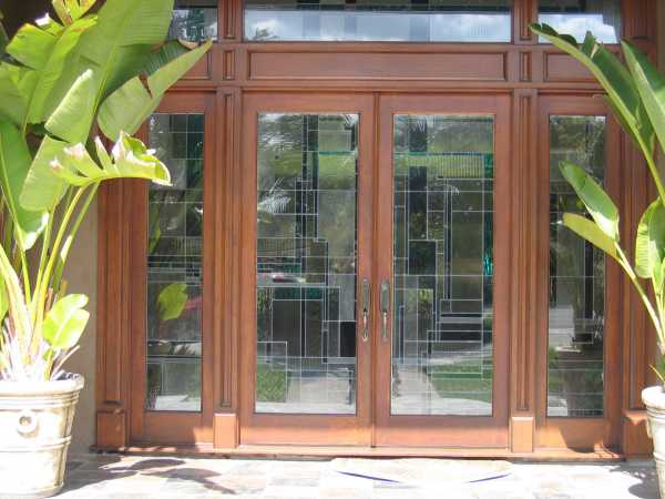 image detail page for Custom mahogany double entry doors with sidelights and architectural glass