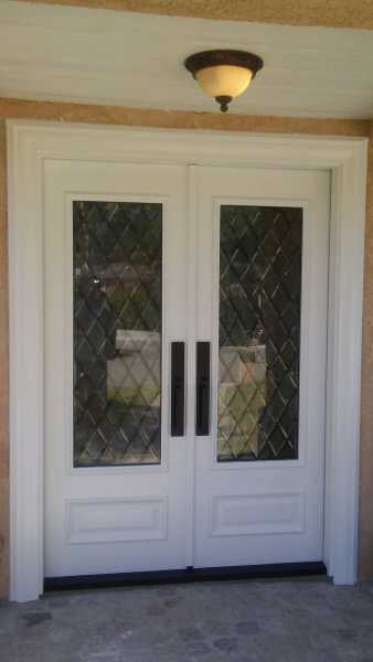 image detail page for Custom painted double entry doors with diamond beveled glass