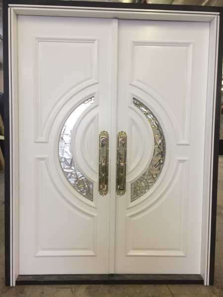 "image detail page for Painted ""Crescent"" double front entry doors"