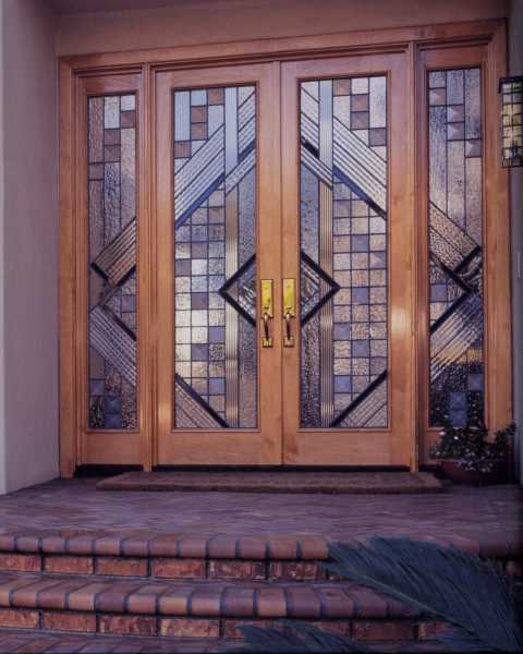 image detail page for Modern mahogany double entry doors with custom glass and sidelights