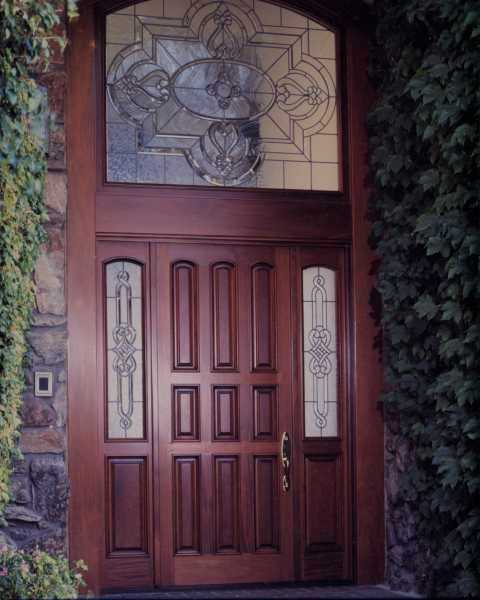 image detail page for Modern mahogany single entry door with custom glass, sidelights and transom