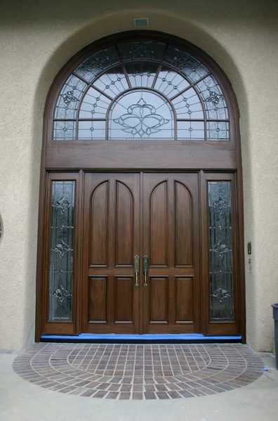 image detail page for Mahogany double entry doors with custom glass, sidelights and transom