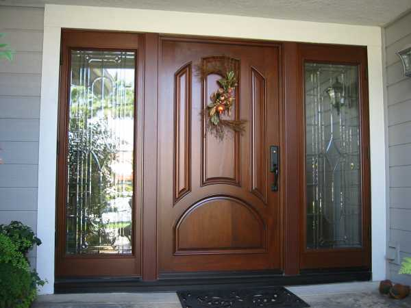 image detail page for Mahogany single entry door with custom glass sidelights