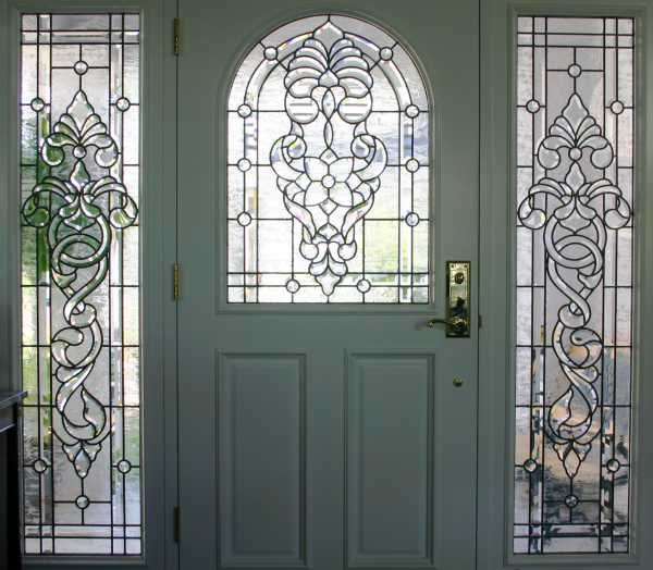 image detail page for Painted single entry door with custom glass and sidelights