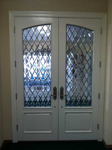 image detail page for Painted double entry doors with diamond beveled glass