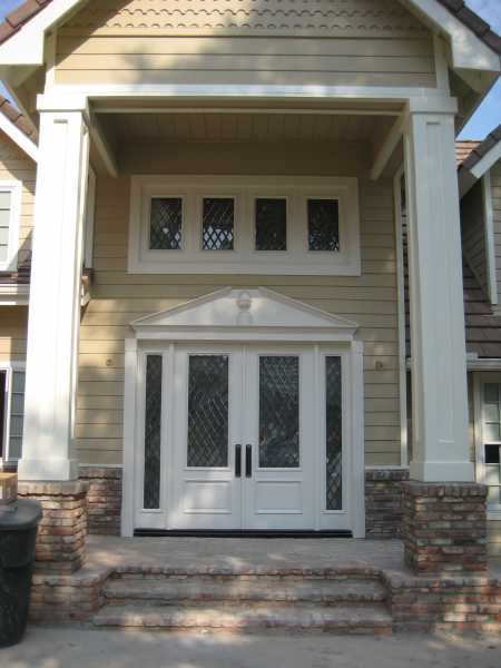image detail page for Painted double entry doors with diamond beveled glass, sidelights and transom