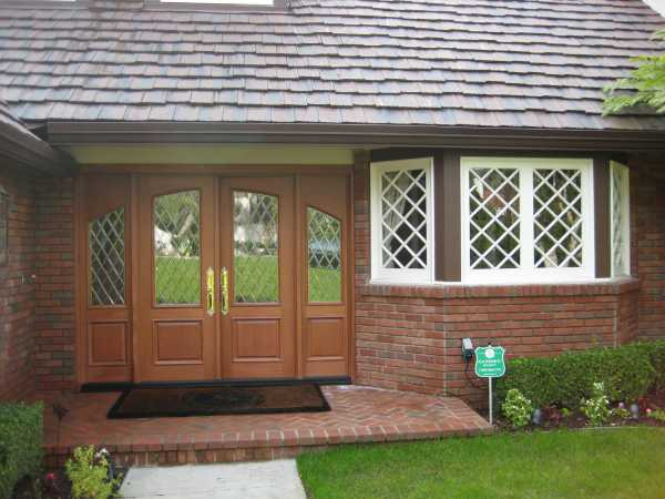 image detail page for Mahogany double entry doors with diamond beveled glass and sidelights
