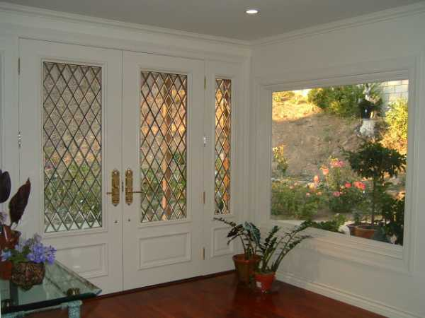 image detail page for Painted double entry doors with diamond beveled glass and sidelights