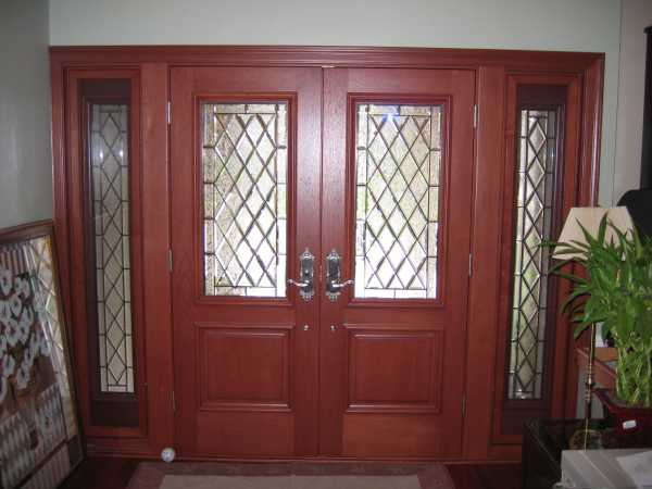 image detail page for Double entry doors with diamond beveled glass and sidelights