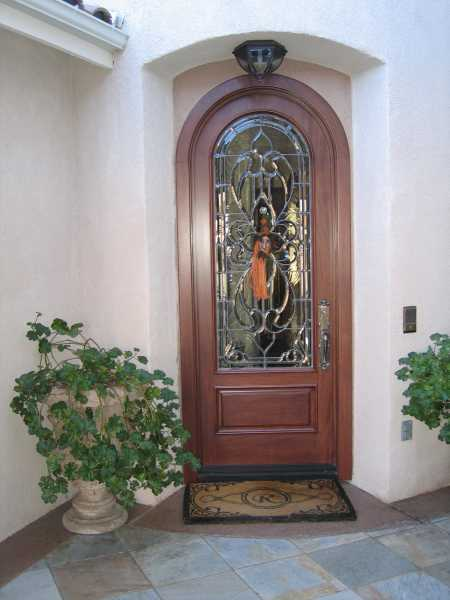image detail page for Mahogany radius single entry door with custom glass