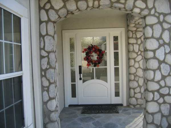 image detail page for Painted single entry door with custom opaque glass sidelights
