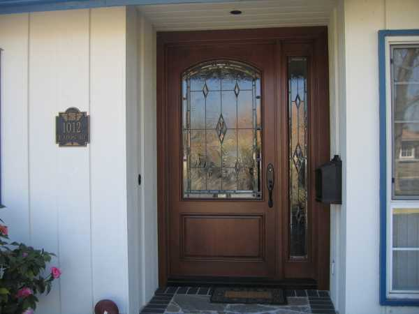 image detail page for Mahogany single entry door with custom glass and sidelight