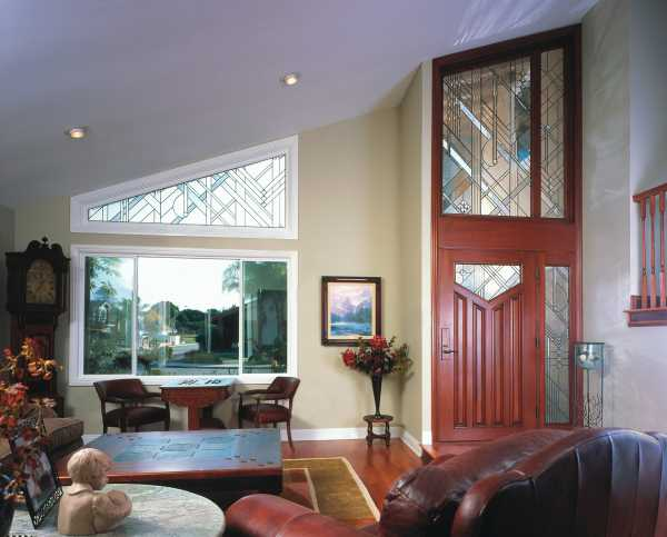 image detail page for Mahogany modern single entry door with custom glass, sidelights and transom