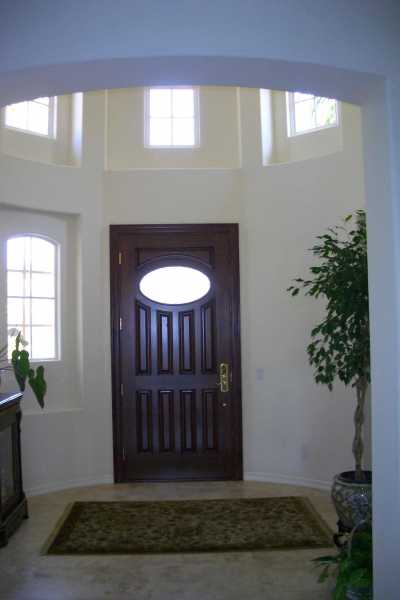image detail page for Mahogany single entry door with custom glass