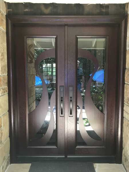 image detail page for Modern accoya wood double front entry doors with custom glass