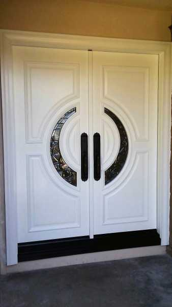 "image detail page for Painted ""Crescent"" double front entry doors with black caming"
