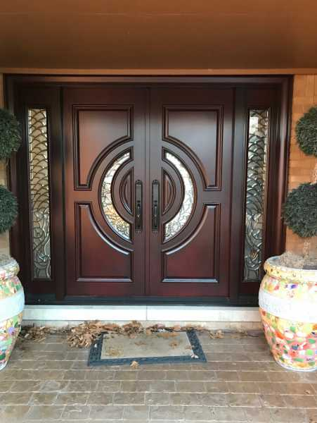image detail page for Crescent mahogany double front entry doors with sidelights